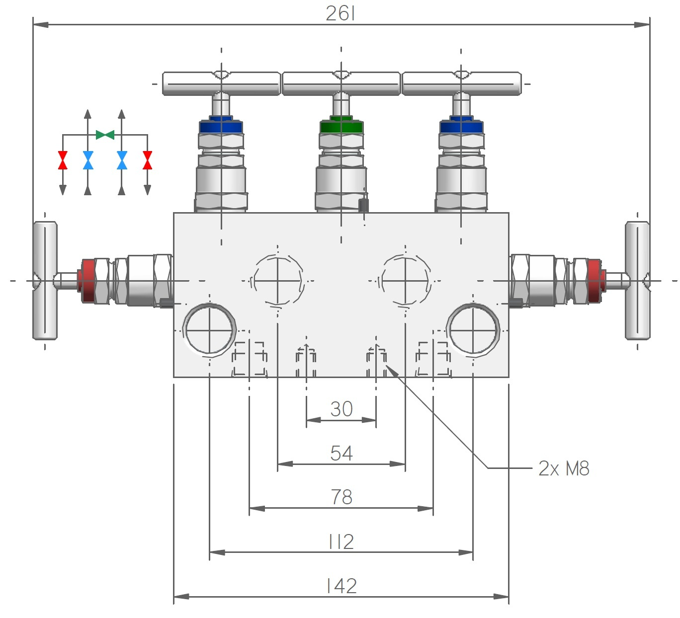 5-way Manifold for differential press. instrument, M54 serie