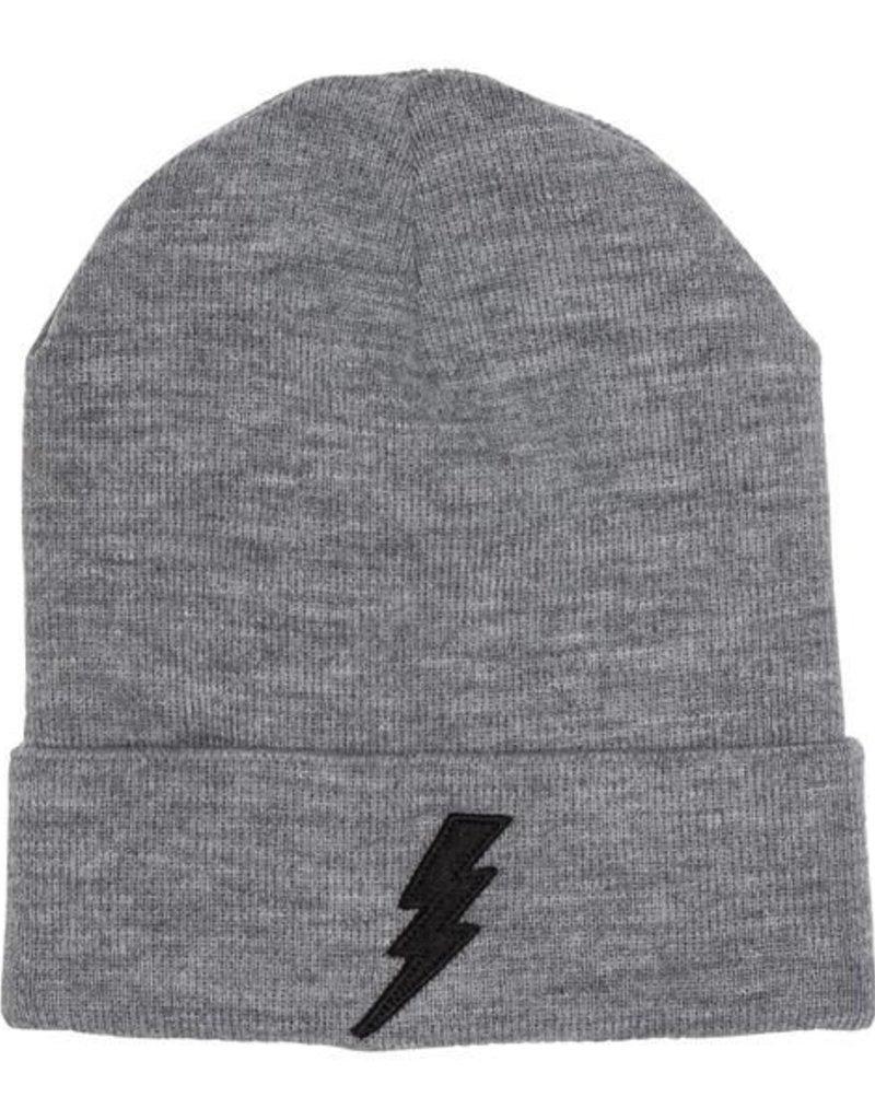 Grey Lightning Beanie - black flash