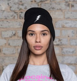 Black Lightning Beanie - white flash