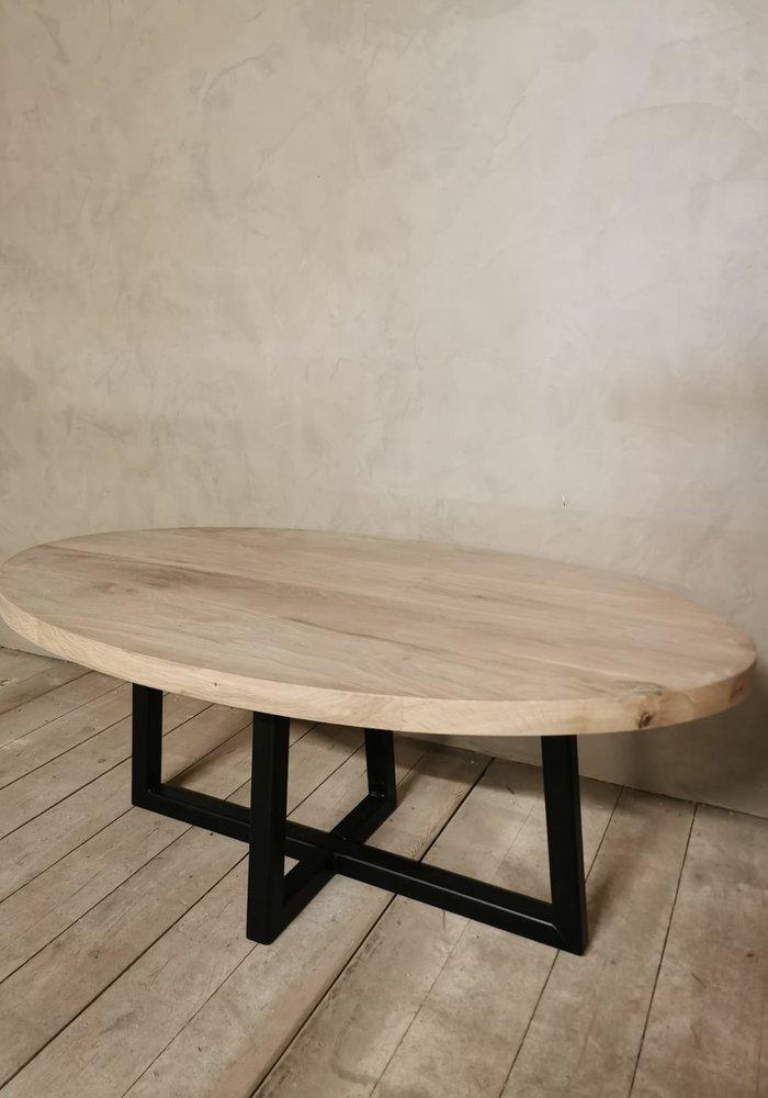 Industriële eiken salontafel Liam