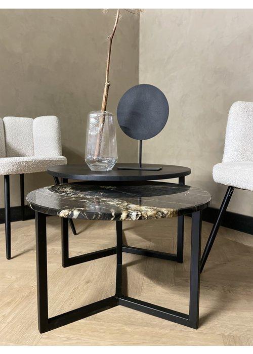 Robuust Interieur Salontafel set Noura - zwart/goud