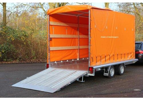 Hapert Aanhangwagens Hapert Indigo LF-2 machine transporter met huif 410x184cm 3000kg