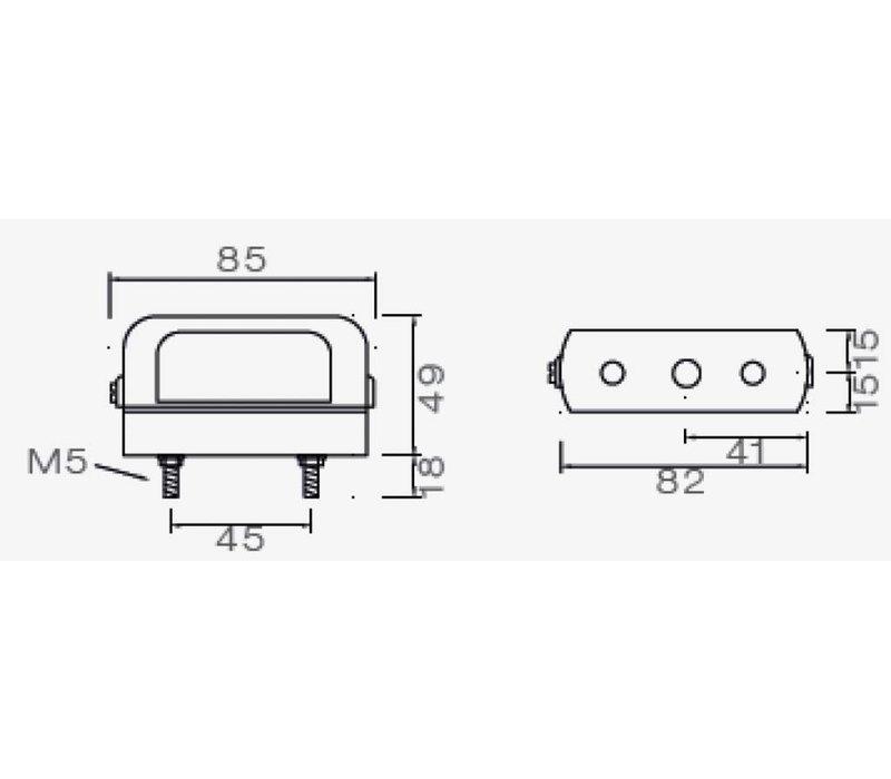ASPÖCK Regpoint Small, kentekenverlichting met 800 mm DC-kabel