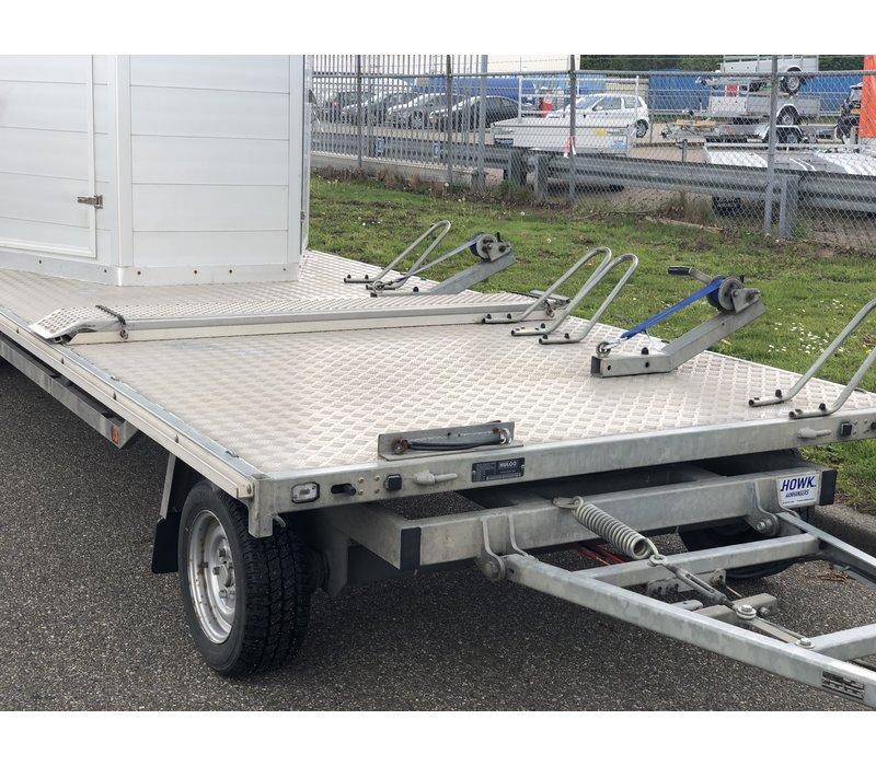 Gebruikte paardentrailer / schamelwagen 6m lang (3500kg