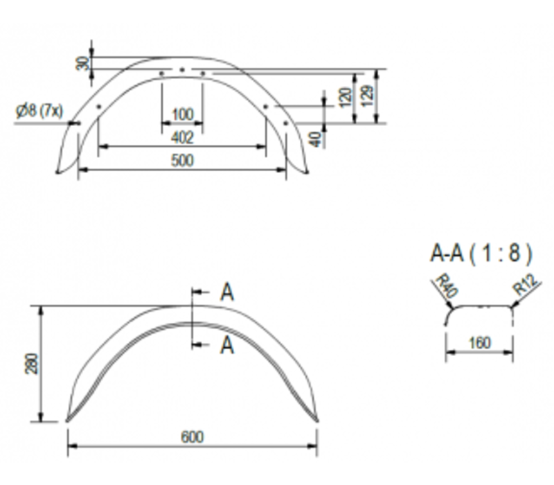 Enkelas metalen spatbord HM 1609/12, B 160/S 600 mm