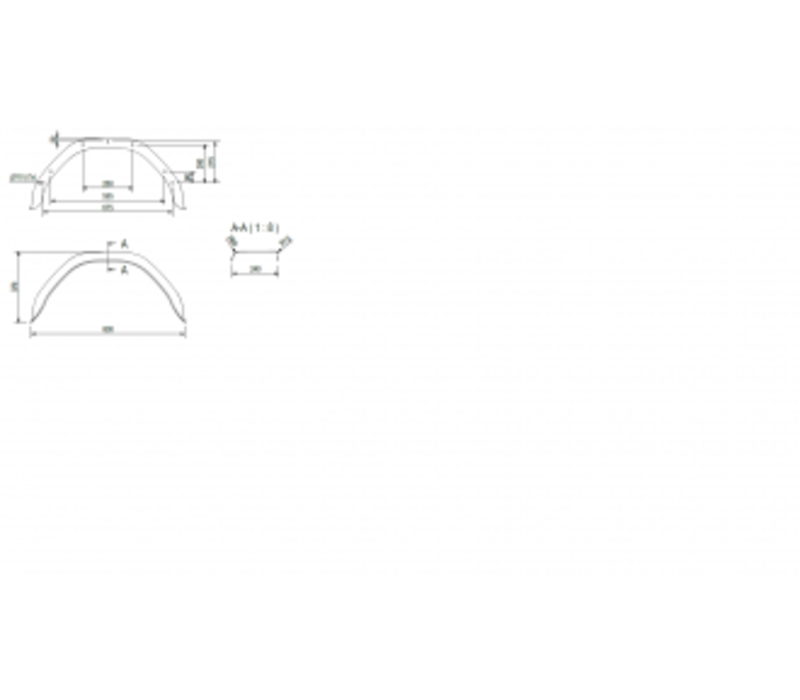 Enkelas stalen spatbord, HM 2413/12, B 240/S 800 mm