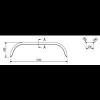 Tandemas stalen spatbord, D 2020/12, B 200/S 1550 mm