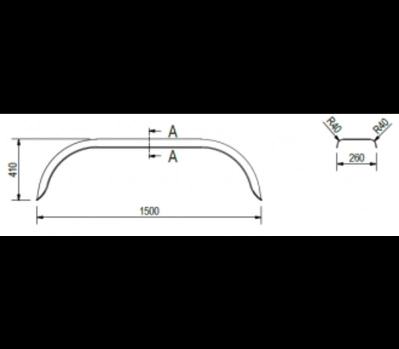 Tandemas stalen spatbord, D 2620/12, B 260/S 1500 mm
