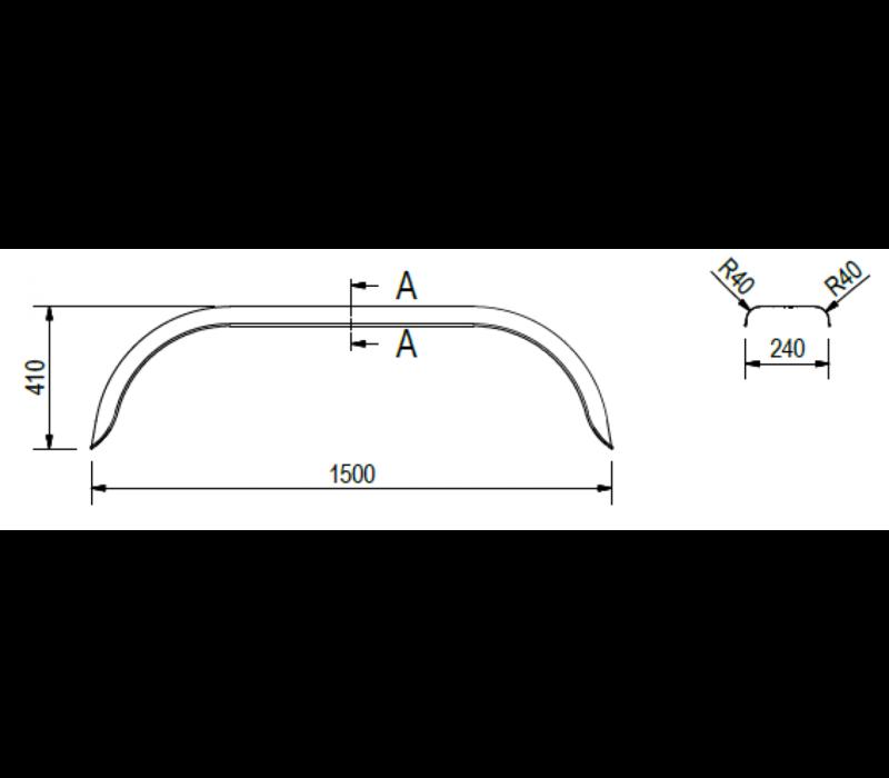 Tandemas matalen spatbord, D 2420/12, B 240/S 1500 mm