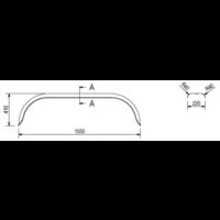 Tandemas metalen spatbord, D 2220/12, B 220/S 1550 mm