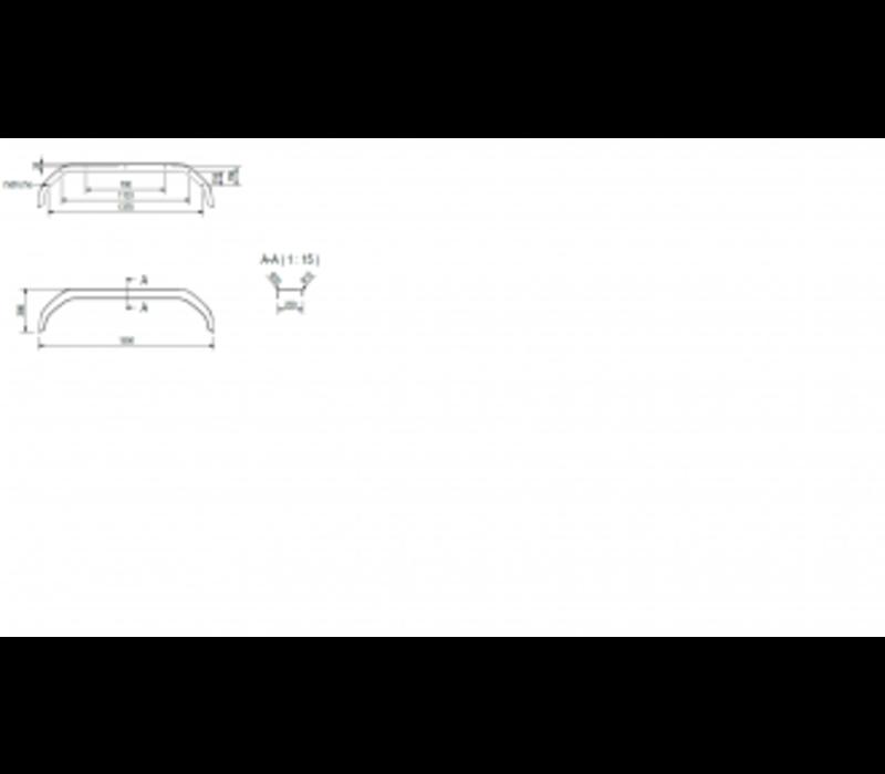 Tandemas kunststof spatbord, THMK 2220/12, Kunststoff, B 220/S 1550 mm