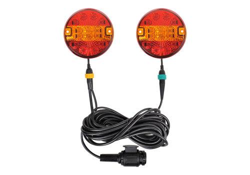 Budgetline Led Aanhangerverlichtingsset LED 3F met magneten 7,5+2,5M kabel 13P.