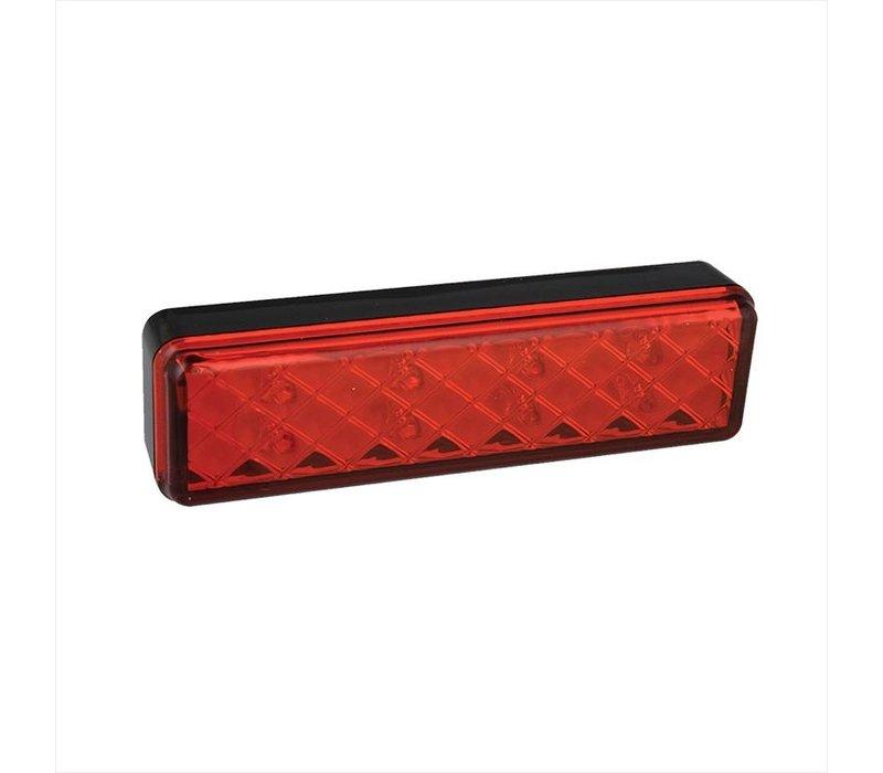 Achterlicht 12/24V 2 functies 135x38mm LED met houder zwart