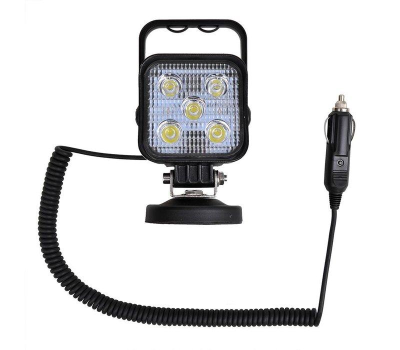 Led Werklamp op magneet + 3M spiraalkabel met 12V stekker