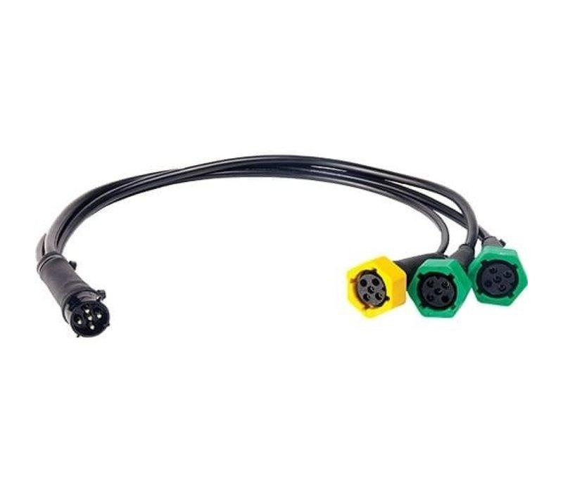 Verloopkabel 5 pins, van 3 lampen naar 1 stekker