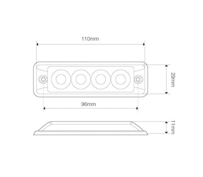 Ultra platte Slimline LED Flitser 4 LED's Amber 10-30v
