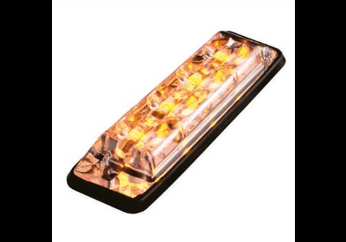 Ultra platte Slimline LED Flitser 6 LED's Amber 10-30v