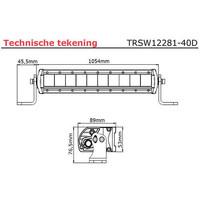 LED bar 200 watt 8000 lumen 9-30v 40cm. kabel 1054x53x89mm