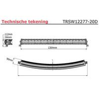 LED bar curved 300 watt 20000 lumen 9-30v 40cm. kabel 1304x90x84mm