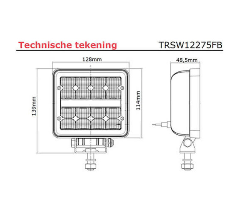 LED Werklamp 2272 lumen 9-36v 40cm. kabel 128mmx114mmx48,5mm