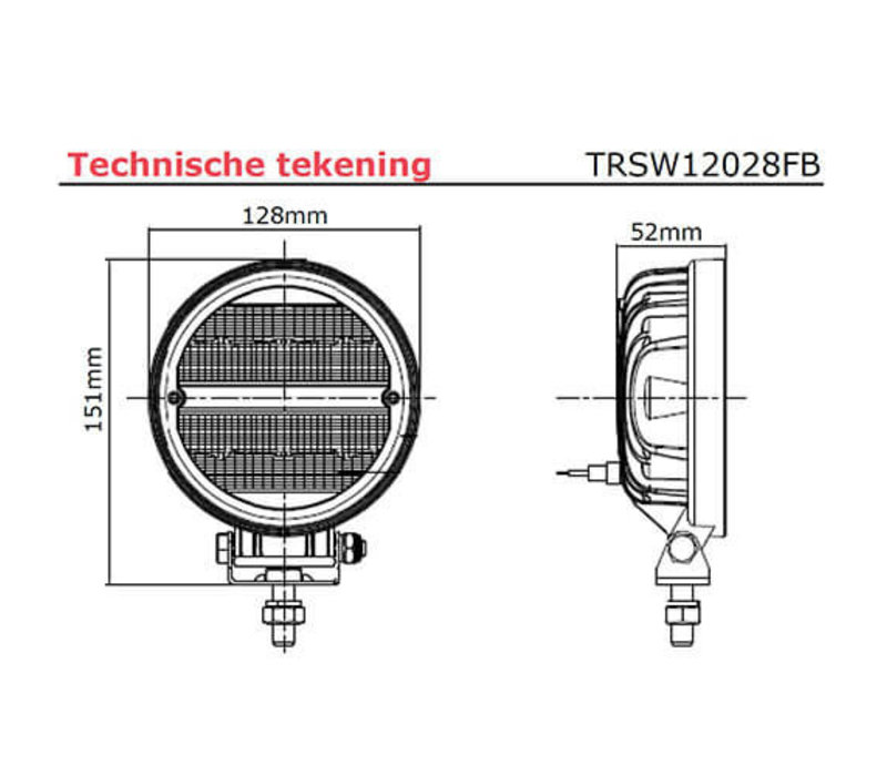 LED RFT Werklamp 2272 lumen 9-36v rond