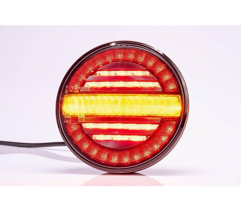 LED achterlicht, rond met dyn. knipperlicht 12-24v 100cm. kabel