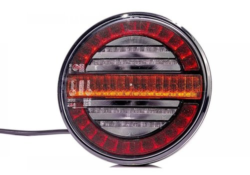 Fristom LED achterlicht, rond met dyn. knipperlicht 12-24v 100cm. kabel
