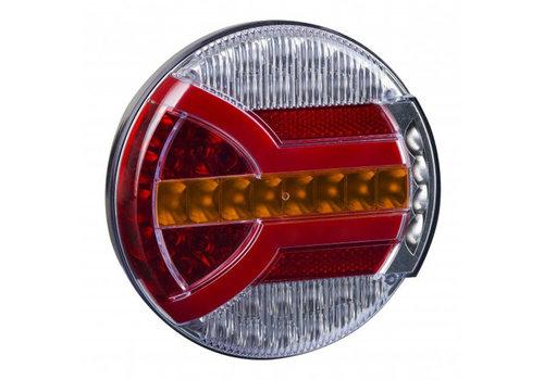Fristom LED achterlicht met dynamisch knipperlicht (rond) 12-24v 150cm. kabel