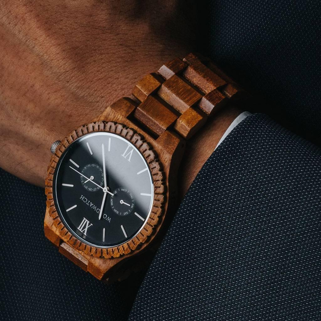 woodwatch mann hölzern uhr grand kollektion 47 mm durchmesser midnight black teak holz