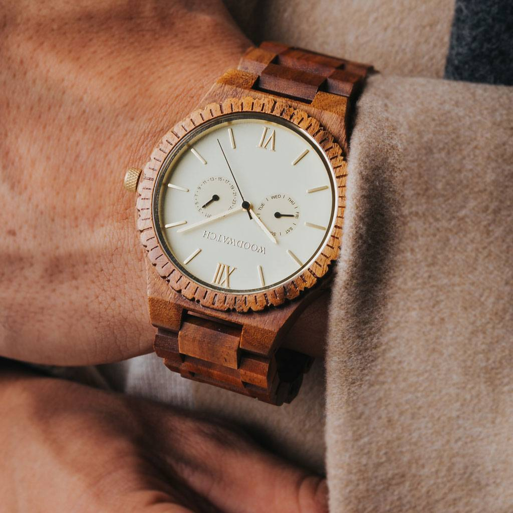 woodwatch mannen houten horloge grand collectie 47 mm champagne gold acacia hout