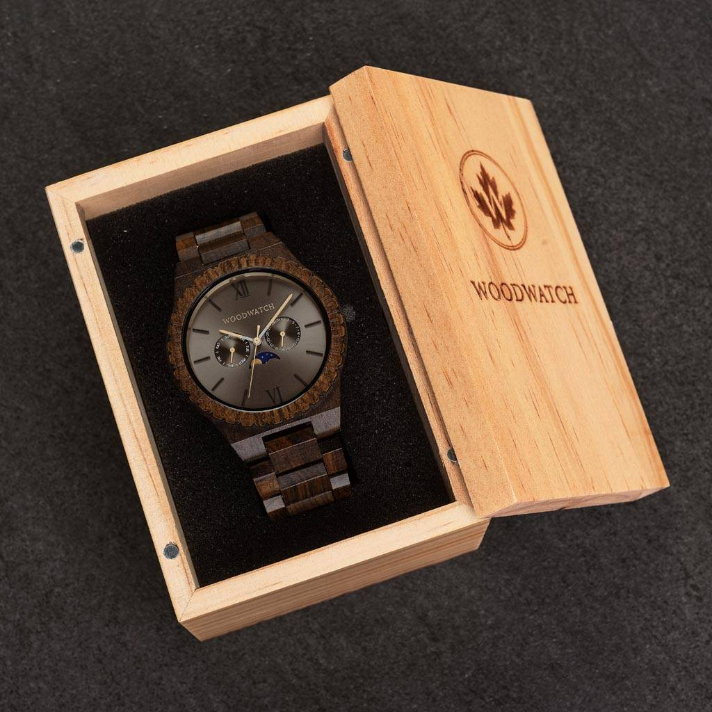 woodwatch men wooden watch grand collection 47 mm diameter lunar eclipse black sandal
