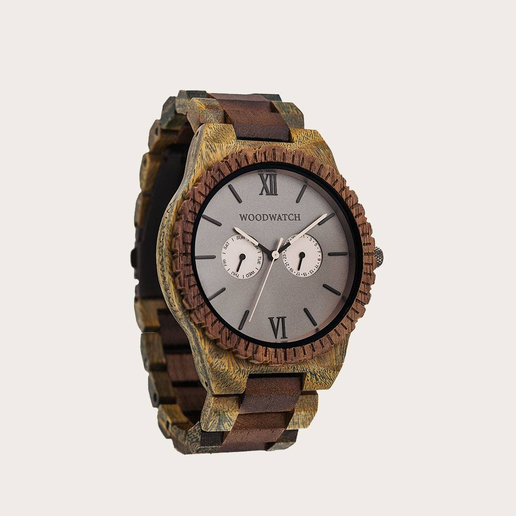 woodwatch mannen houten horloge grand collectie 47 mm wild safari sandal sandelhout walnoot hout