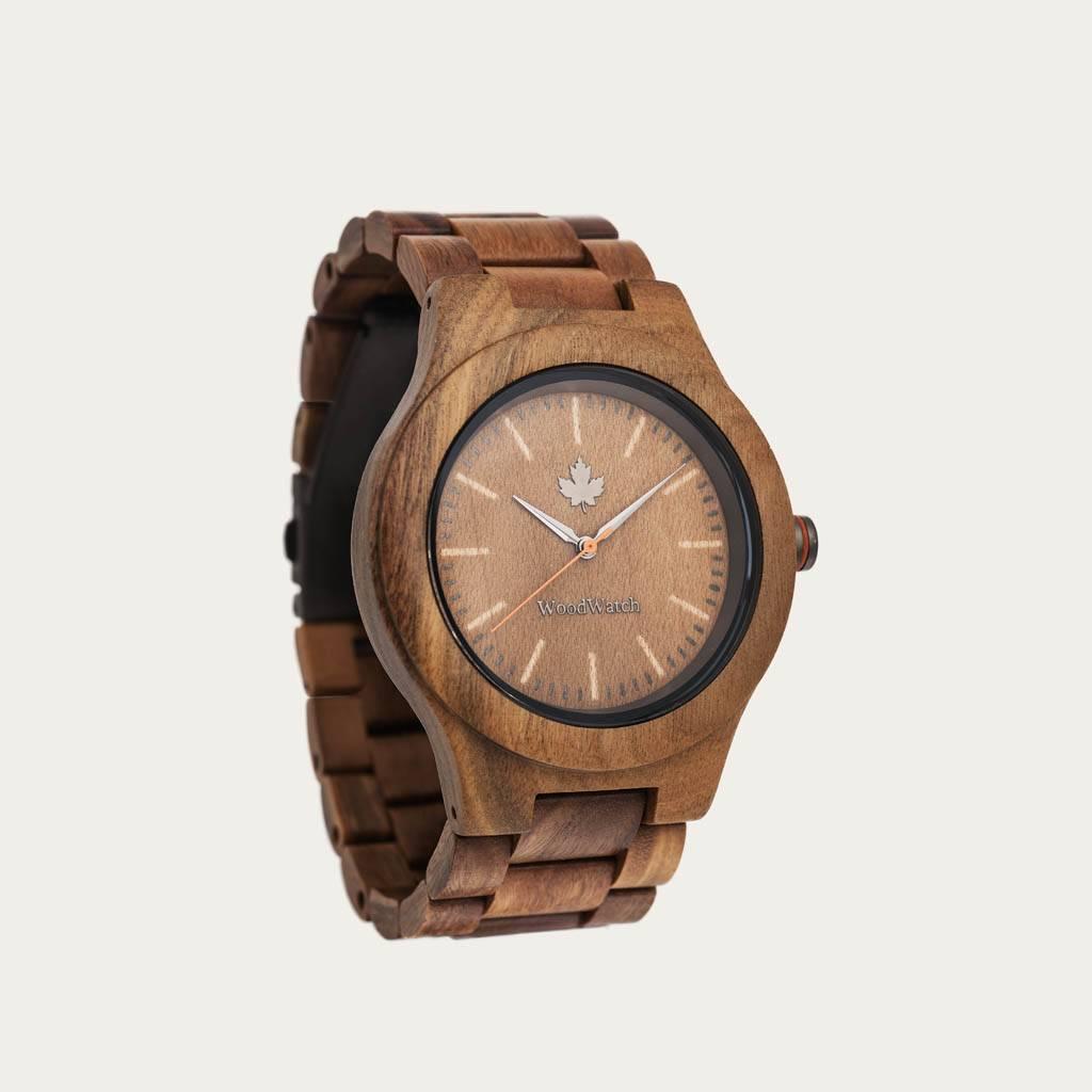woodwatch mann hölzern uhr core kollektion 45 mm durchmesser sandal grünes sandelholz