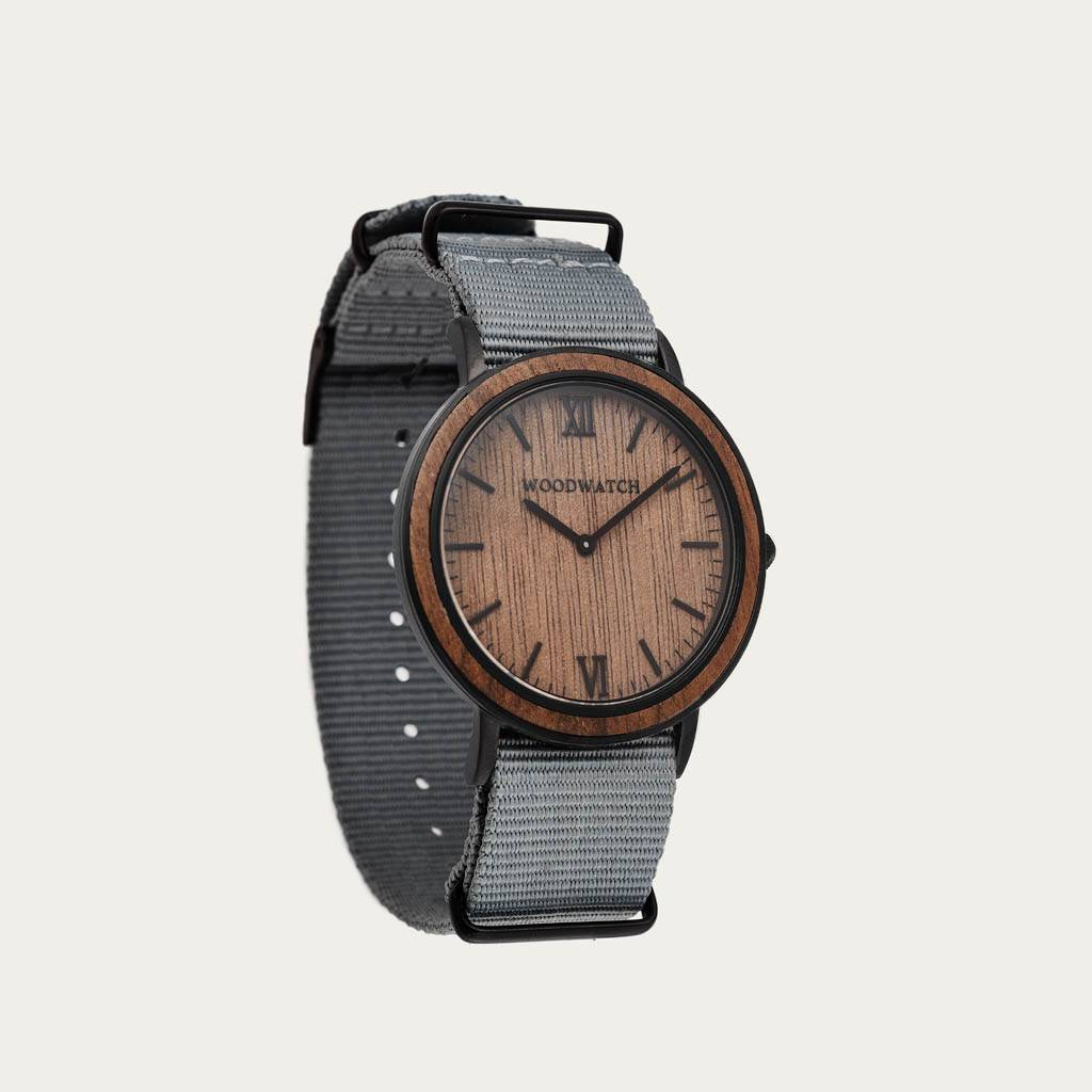 woodwatch mannen houten horloge minimal collectie 40 mm diameter brown walnut graphite walnoot hout grijs nylon band