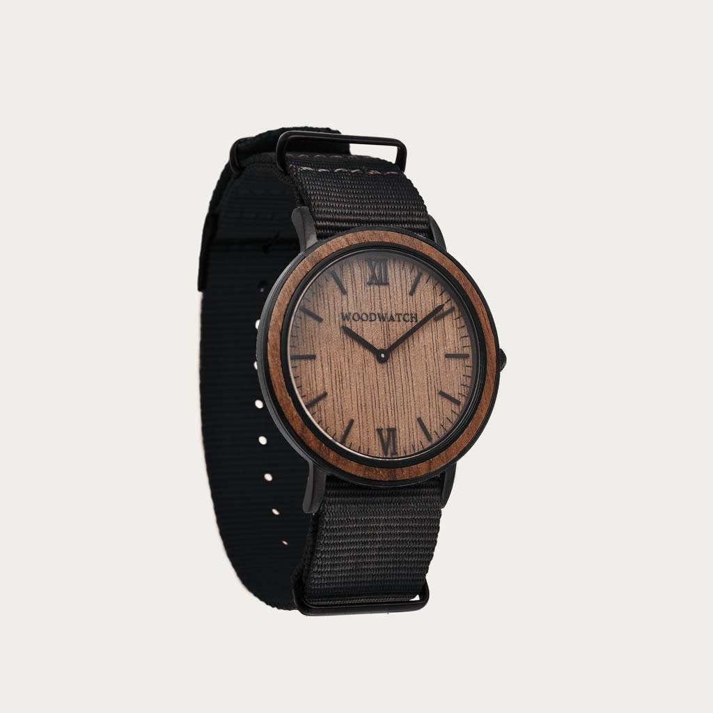 woodwatch homme montre en bois minimal collection 40 mm diamètre brown walnut onyx bois noyer bracelet en nylon noir