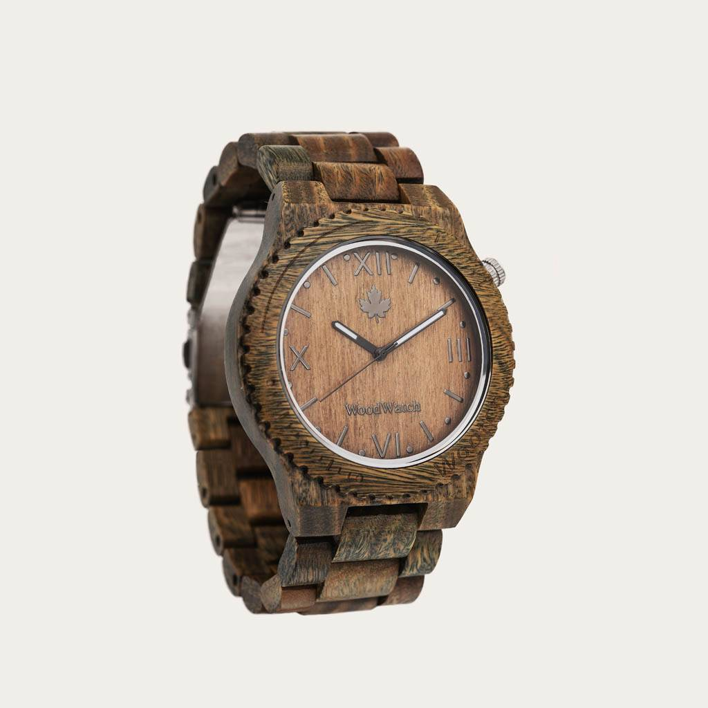 woodwatch mannen houten horloge original collectie 44 mm wootch sandal groen sandelhout