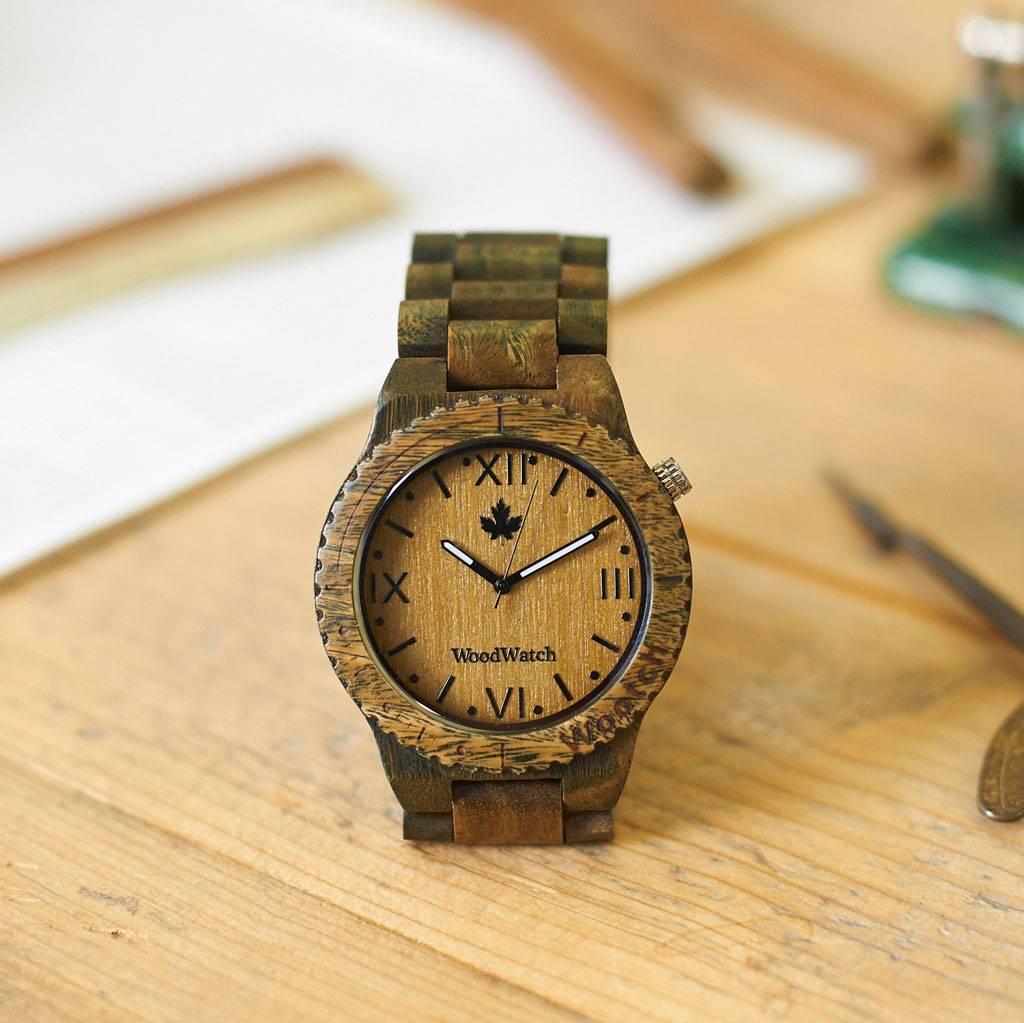woodwatch mannen houten horloge original collectie 44 mm wootch sandal groen sandelhout