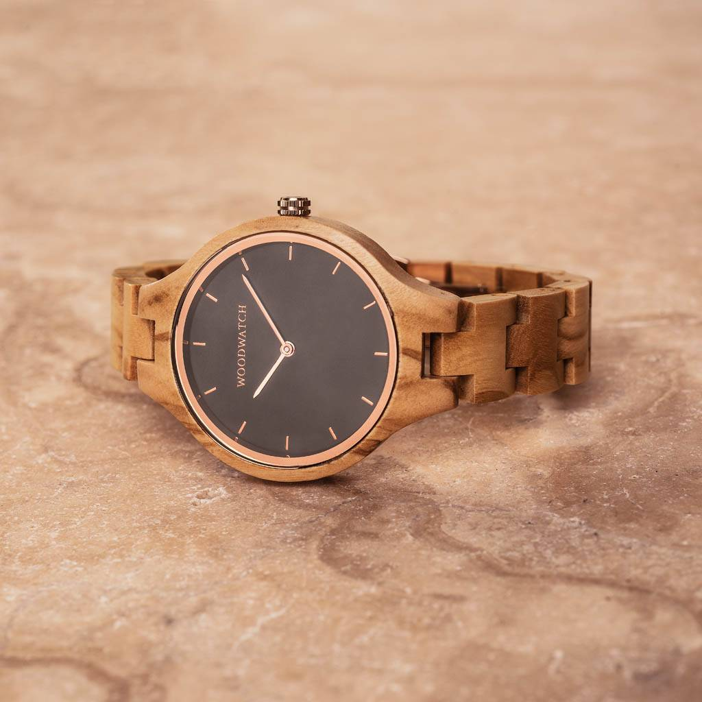 woodwatch mujer reloj de madera aurora colección 36 mm diámetro northern sky madera olivo