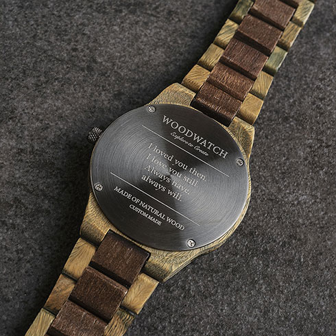 WoodWatch custom engraving personalised message