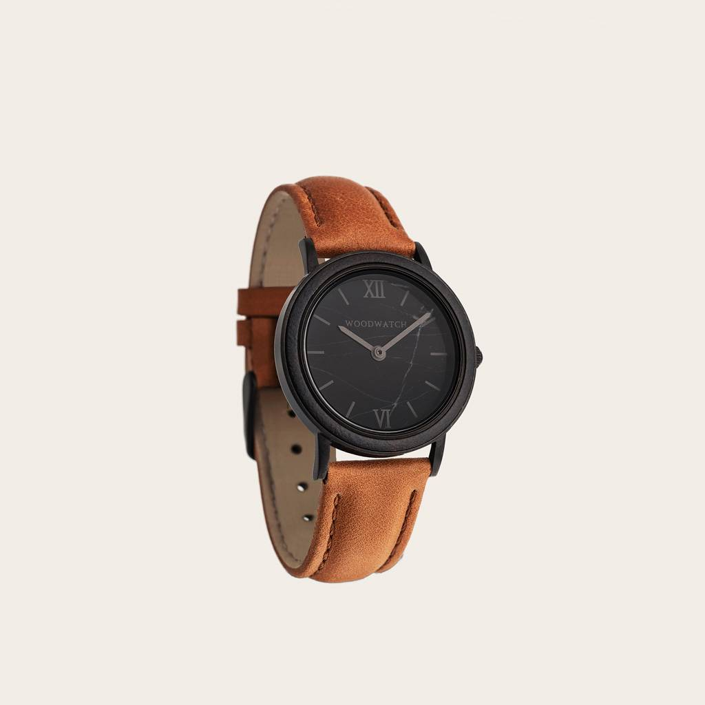woodwatch women wooden watch minimal collection 34 mm diameter black marble pecan petite ebony wood orange leather band