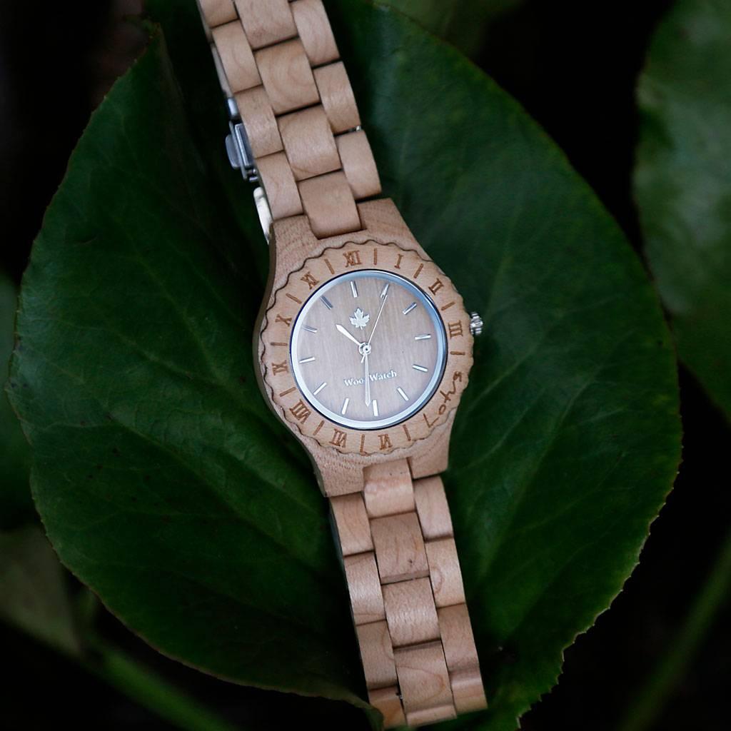 woodwatch mujer reloj de madera original colección 34 mm diámetro lotus maple madera arce