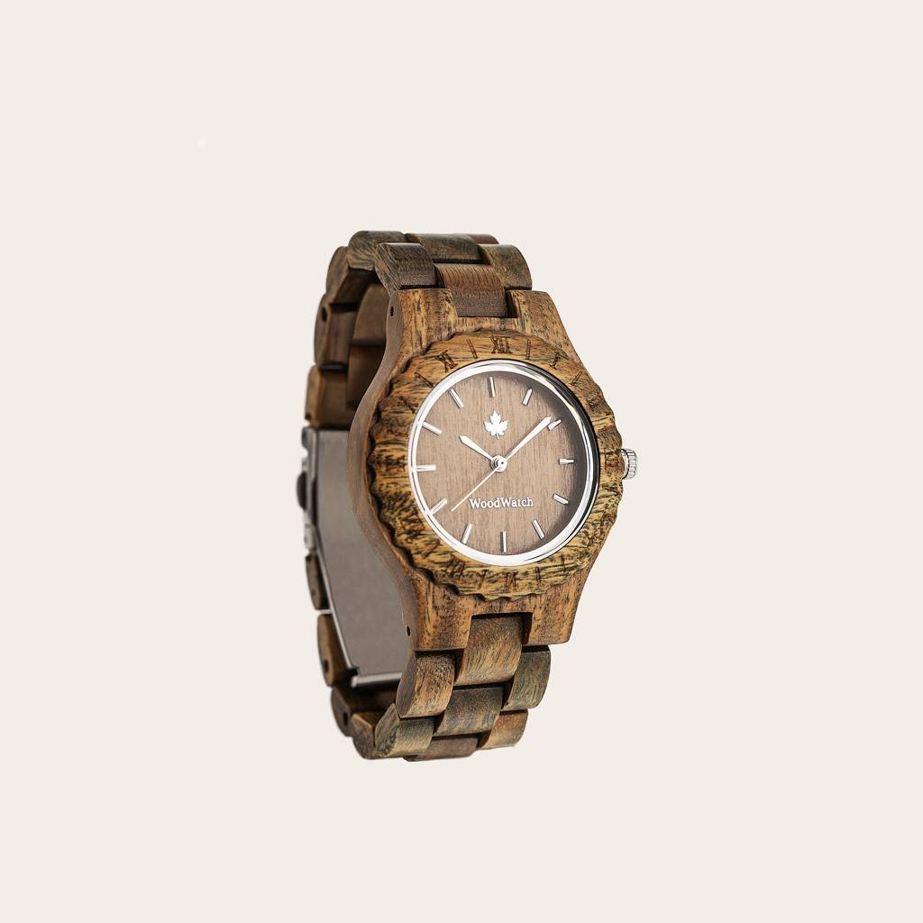 woodwatch vrouwen houten horloge original collectie 34 mm diameter lotus sandal groen sandelhout