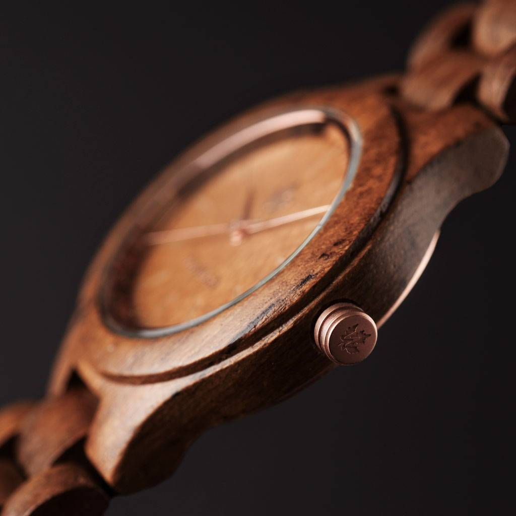 woodwatch mujer reloj de madera core colección 36 mm diámetro teak rosegold madera teca