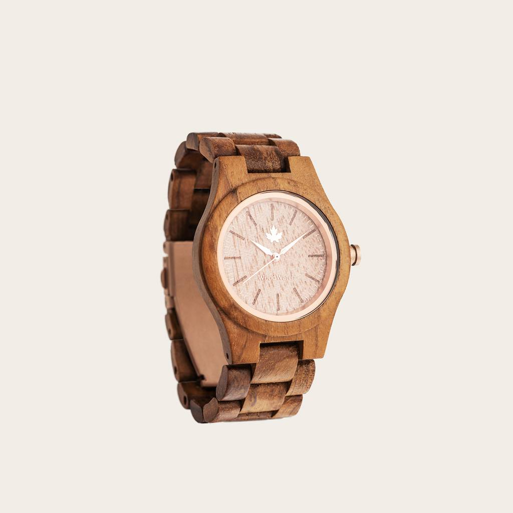 woodwatch women wooden watch core collection 36 mm diameter teak rosegold teak wood