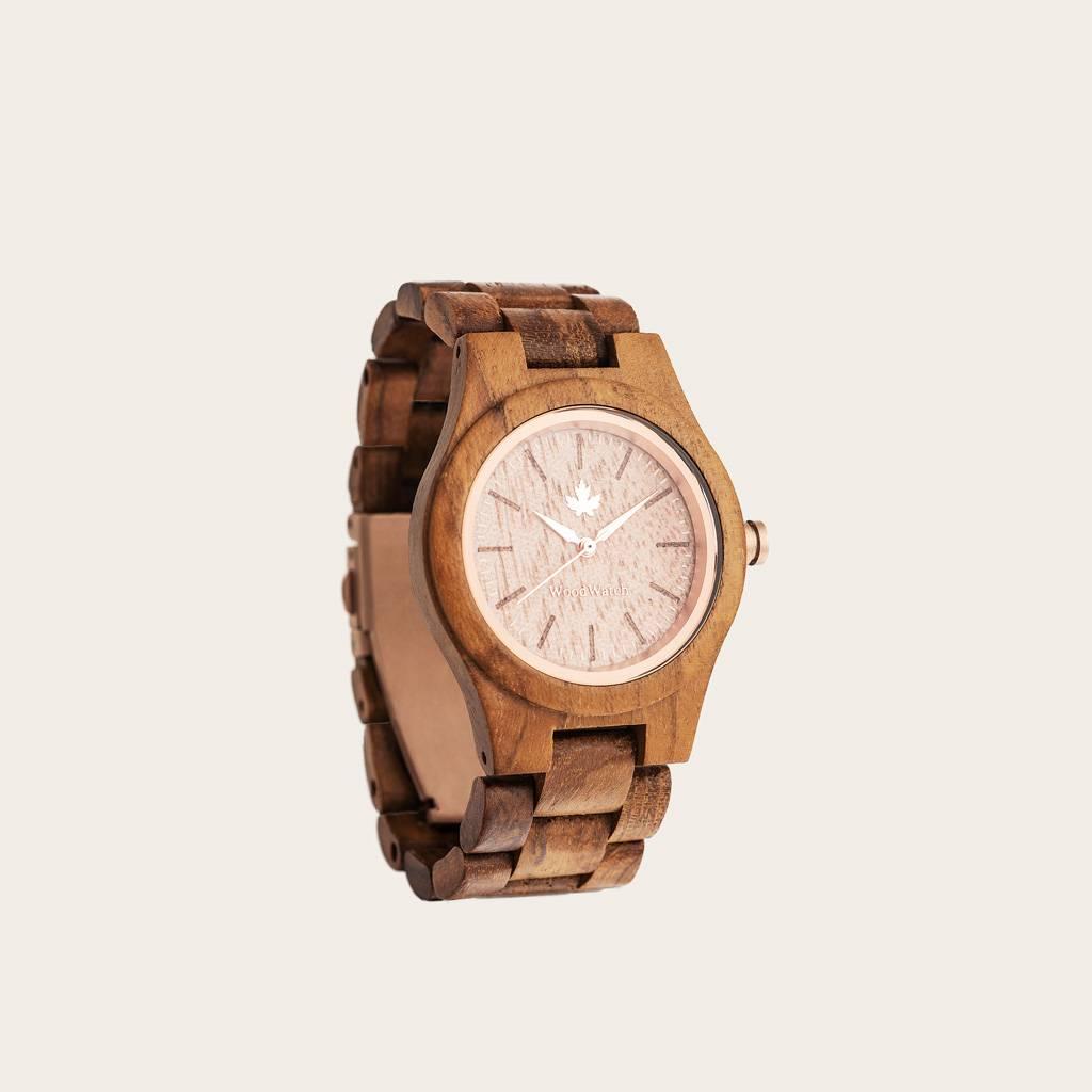 woodwatch vrouwen houten horloge core collectie 36 mm diameter teak rosegold teak hout