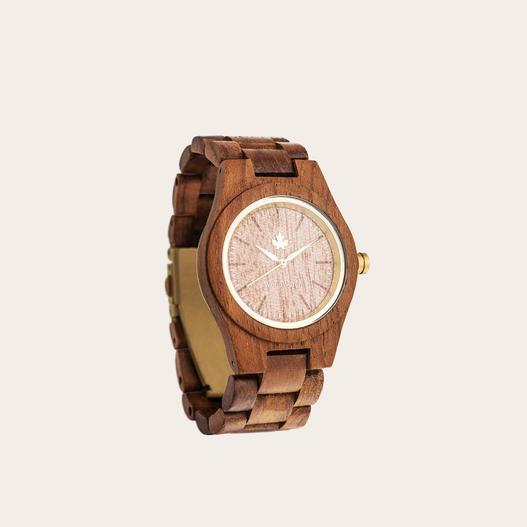 woodwatch women wooden watch core collection 36 mm diameter teak gold teak wood