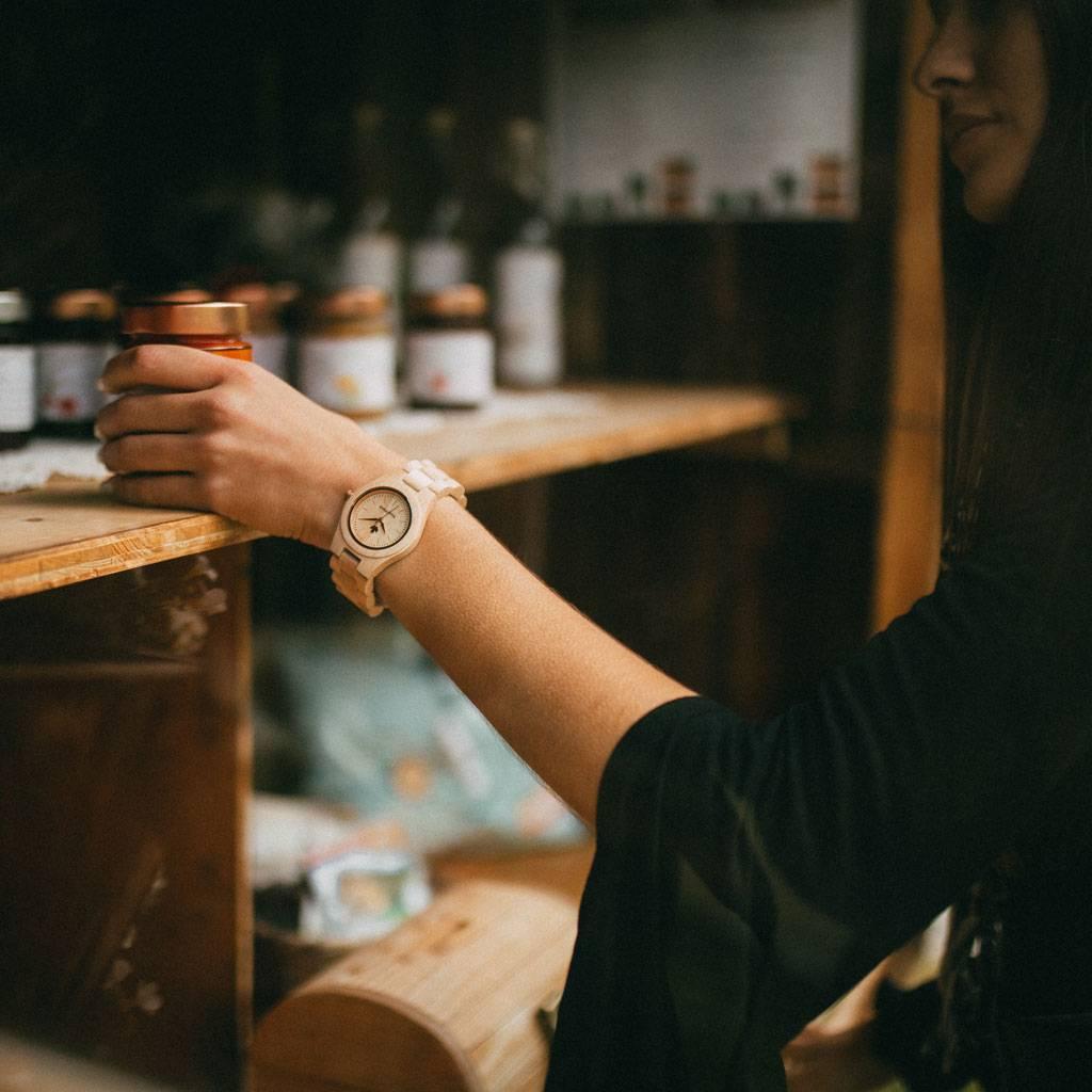 woodwatch femme montre en bois core collection 36 mm diamètre maple rosegold bois d'érable