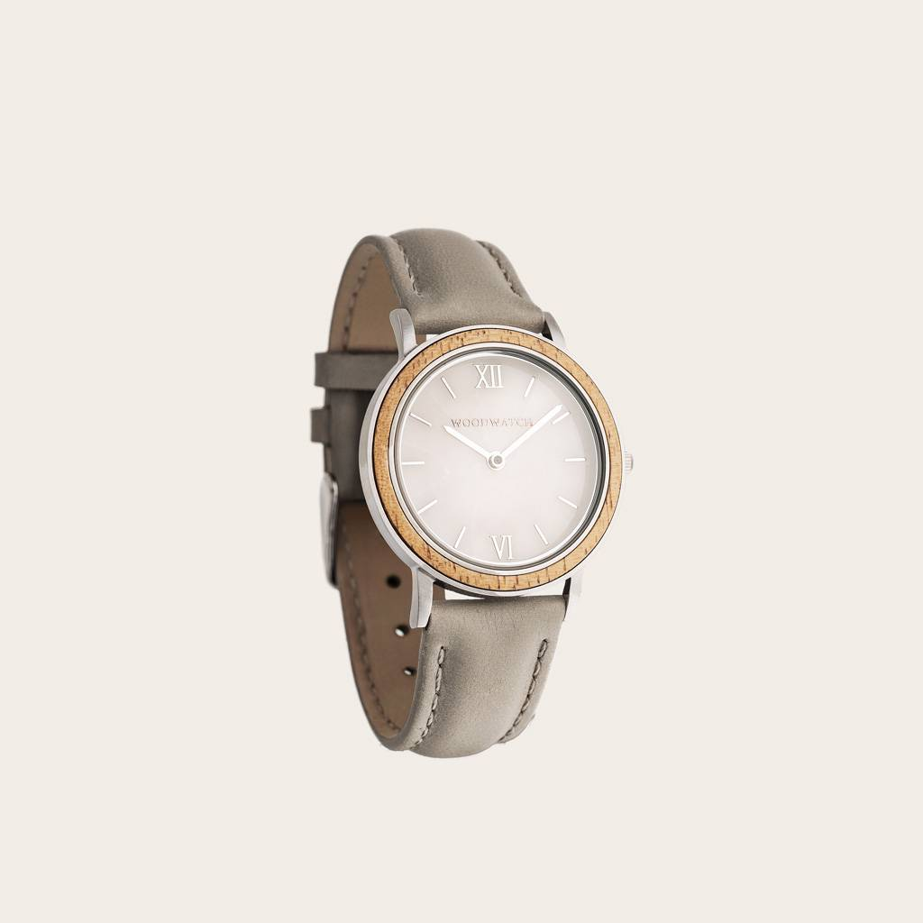 woodwatch vrouwen houten horloge minimal collectie 34 mm diameter sky marble seaside petite acacia hout grijs leer band
