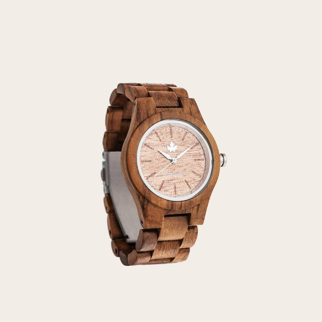 woodwatch women wooden watch core collection 36 mm diameter teak silver teak wood