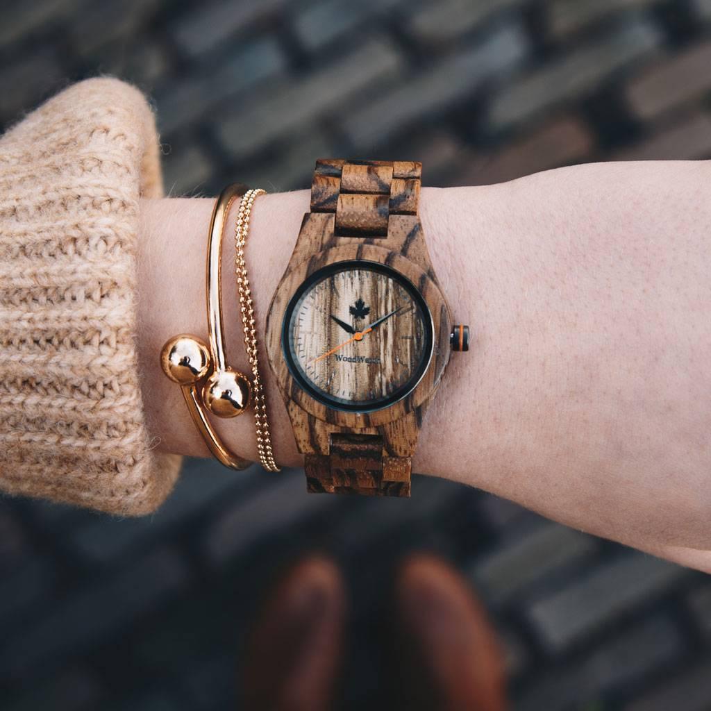 woodwatch femme montre en bois core collection 36 mm diamètre zebra petite bois de zingana